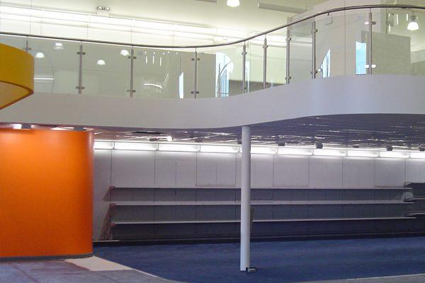 Office mezzanine floor with curved ballustrade